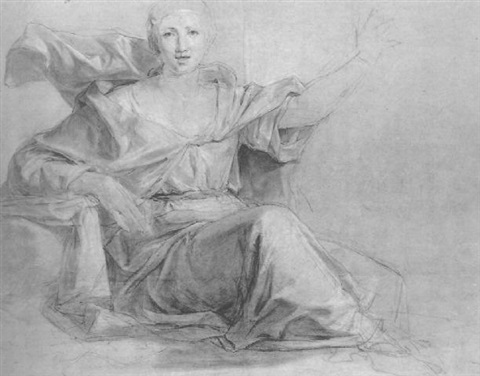 a seated woman her left arm raised by louis galloche
