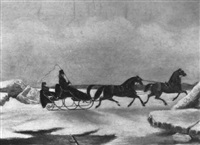 a two-horse sleigh crossing a frozen river by evelyne marie (lady) alexander