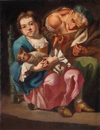 bimba seduta con un gatto in grembo e una vecchia popolana by gaspare traversi