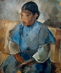 jeune femme à la robe bleue by alfred figueras