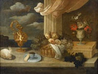 still life with spaniel on a cushion and still life with rabbit (a pair) by francesco fieravino (il maltese)