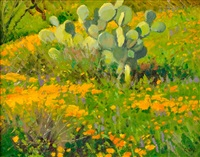 poppies and prickly pear by ralph oberg