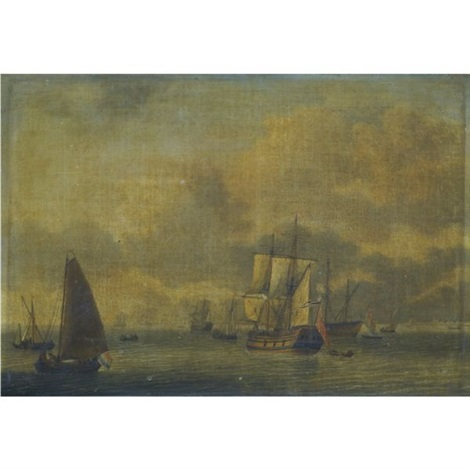 a dutch man owar and other sailing vessels in calm waters by adam silo