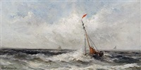 fishing boat in choppy waters by gerard van der laan
