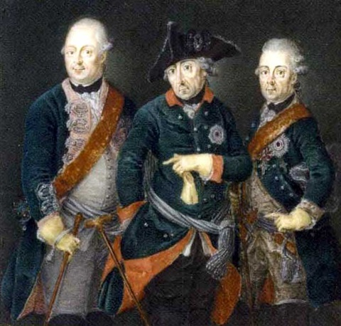 frederick the great king of prussia in the uniform of the prussian life guards frederick william ii king of prussia and prince henry by anton friedrich könig