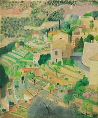 mediterranean village scene by jane simone bussy