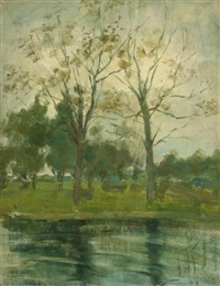 two trees silhouetted behind a water course by piet mondrian