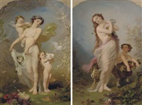 allegory of spring (+ allegory of autumn; pair) by andré charles voillemot