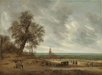 a panoramic landscape with travellers on a path, the city of amersfoort beyond by salomon van ruysdael