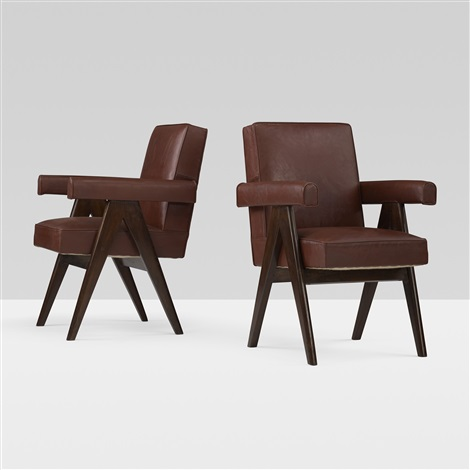 committe armchairs from the high court chandigarh pair by pierre jeanneret