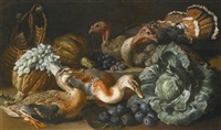 a still life of ducks, turkeys, melons, figs, grapes and a cabbage on a stone ledge by jacob van der kerckhoven