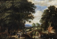 elegant figures conversing in a river landscape, with a bridge in the distance by willem van den bundel
