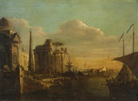 antike ruine am flussufer by francesco guardi