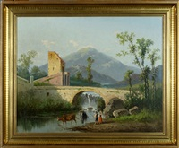 Paysage animé avec Pont et Rivière