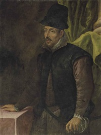portrait of a man, three-quarter-length, in a mauve doublet, lace cuffs and collar, and a black hat, his left hand resting on the hilt of his saber by leandro da ponte bassano