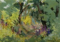 forest with foxgloves by pauline merry