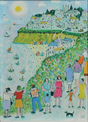 looking down to the beach by joan gillchrest