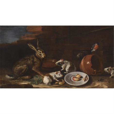 a farmyard scene with a still life of a rabbit guinea pigs apple peel and a butterfly on a plate together with a terracotta jug and bowl by giovanni agostino abate cassana