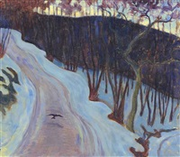 winter landscape, poland by robert polhill bevan