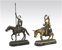 figures of don quixote and sancho panza (pair) by lucien (charles edouard) alliot