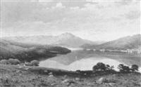 heuvelachtig landschap met zicht op een meer by william h. burnett