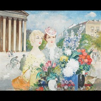 young women at a flower stall outside the pantheon by antal jancsek
