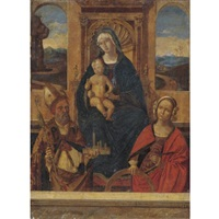 madonna and child enthroned with saints petronius (?) and catherine of alexandria by bernardino di bosio zaganelli