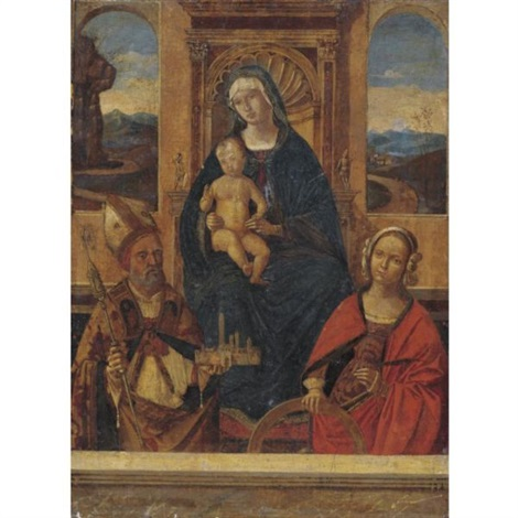madonna and child enthroned with saints petronius and catherine of alexandria by bernardino di bosio zaganelli