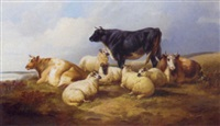 sheep and cattle resting in a river landscape by john charles morris