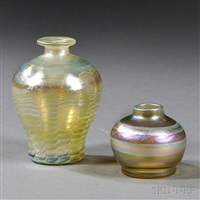 tiffany decorated vases (2 works) by tiffany studios