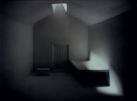 prison cell with skylight by james casebere