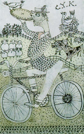 comic figure on a bicycle by john maxwell