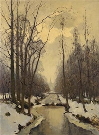 a stream in a winter landscape by pieter de regt