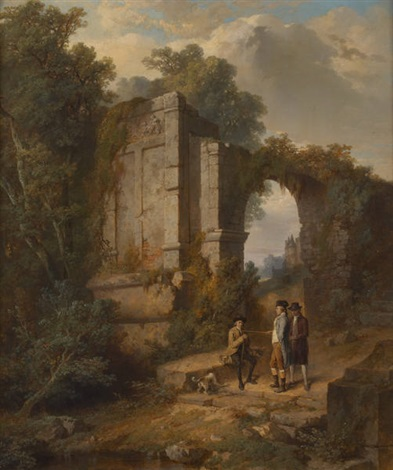 conversation de gentilshommes près des ruines by jean baptiste madou