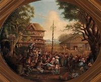 spring day in the village. the villagers are enjoying themselves around the maypole by jacques-albert senave
