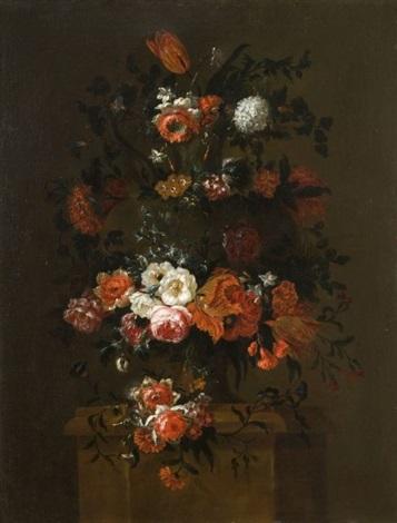 deux bouquets de fleurs sur des pilastres pair by gaspar pieter verbruggen the younger