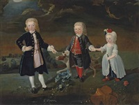 group portrait of daniel, william and stephen eaton, as children, full-length, with a dog, in an extensive park landscape by pieter van bleeck