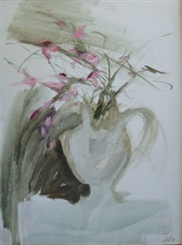 a still life of flowers in a jug by aileen lipkin