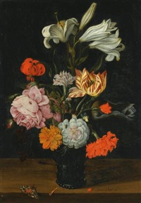 a still life with flowers in a glass roemer, on a ledge with fallen petals by jan baptist fornenburgh