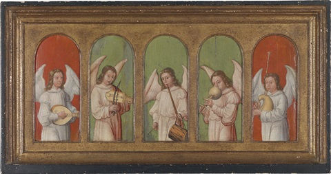 musizierende engel on 5 joined panels 1 work on separate smaller panel by anonymous german 15