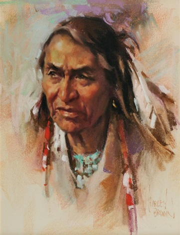 indian man with turquoise necklace portrait by harley brown