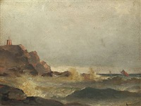coastal scenery with sailing ships by ludvig otto richarde