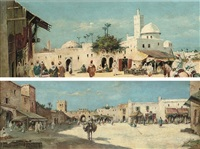 a market outside the city gates (+ on the way back from the souk; pair) by james hughes clayton