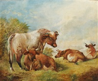 a bull and cows in a landscape by william huggins