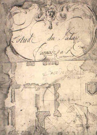 sketchbook of architectural studies after the façade of the farnese palace by gilles marie oppenort