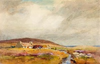 cottages by a stream on the moors by william st. thomas smith
