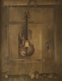 violin trompe l'oeil by alexandre rabine