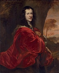portrait of a gentleman in a red cloak, before a landscape by jürgen ovens