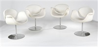ensemble de 4 fauteuils modèle 545 dit little tulip by pierre paulin