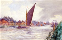 view of reedham with swing bridge by stephen john batchelder
